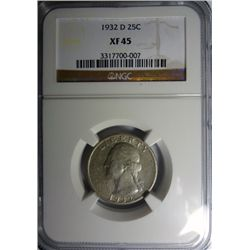 1932-D WASHINGTON QUARTER NGC XF-AU45!