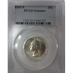 1932-S WASHINGTON QUARTER PCGS GENUINE, SAYS CLEANED, DOES NOT LOOK IT!
