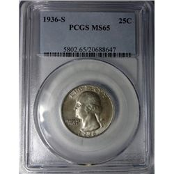 1936-S WASHINGTON QUARTER PCGS MS65 GEM!