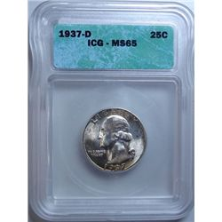 1937-D WASHIGNTON QUARTER ICG MS-65