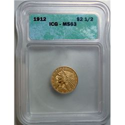1912 $2.5 INDIAN GOLD COIN ICG MS-63