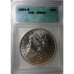 1890-S MORGAN DOLLAR ICG MS64 SUPER!