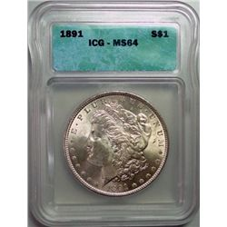 1891 MORGAN DOLLAR ICG MS-64 NICE!