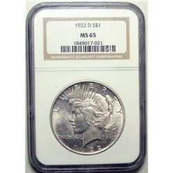 1922-D PEACE DOLLAR NGC MS-65