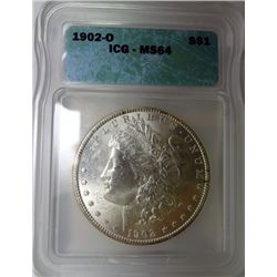 1902-O MORGAN DOLLAR ICG MS64