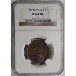 1856 slanted 5  large penny  NGC62BN