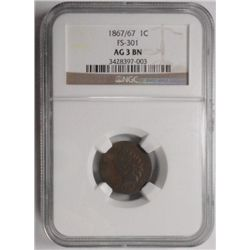 1867/7  Indian penny  NGC03BN