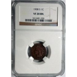 1908S    Indian penny  NGC20RB