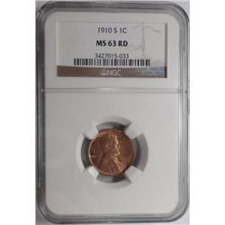 1910S    Lincoln penny  NGC63RD