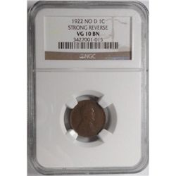 1922  no D    Lincoln penny  NGC10BN