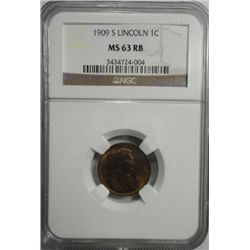 1909S  Lincoln penny  NGC63 RB