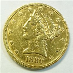 1880 $5  gold  XF
