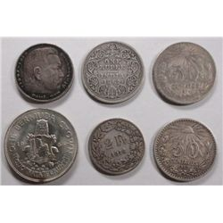 Lot of silver foreign coins SCARCE:1862 India rupee F-1907 F-1914  XF 50 cent