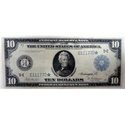 1914 $10.00 FEDERAL RESERVE NOTE STAR NOTE FR.922 RARE! XF-AU, BARGAIN