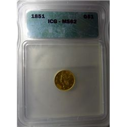 1851 $1.00 GOLD LIBERTY ICG MS62, NICE, EST. $525.00-$550.00