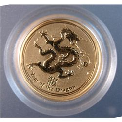 2012 AUSTRALIAN 1/20 OUNCE .999 GOLD DRAGON