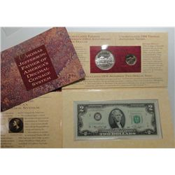 JEFFERSON 3 PIECE COIN & CURRENCY SET WITH $2 STAR NOTE