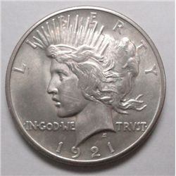 1921 PEACE DOLLAR CH BU WHITE, MINOR HAIRLINE ON CHEEK, VERY NICE COIN