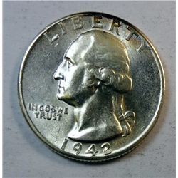 1942-D WASHINGTON QUARTER GEM BU