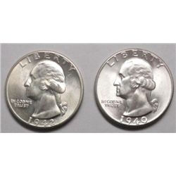 1940 & 1942-D WASHINGTON QUARTERS GEM BU