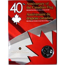 2005 40Th. ANNIV. OF THE CANADIAN FLAG, 8/10+ Oz,SILVER WITH CD-ROM