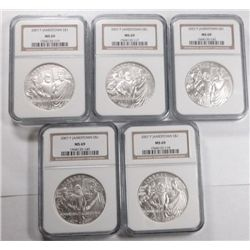 ( 5 ) 2007 JAMESTOWN COMMEMEMORATIVE SILVER DOLLARS ALL NGC MS69