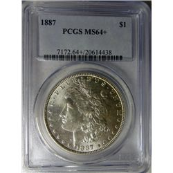 1887 MORGAN DOLLAR PCGS MS 64+