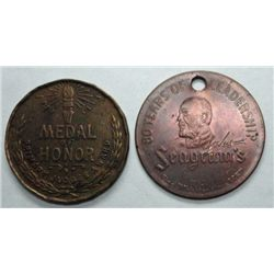 2  UNATTRIBUTED tokens--Seagram Whiskey  1937 80 years leadership holed for wear
