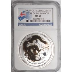 2012 gilt Australian year of dragon 1 oz.silver  NGC69