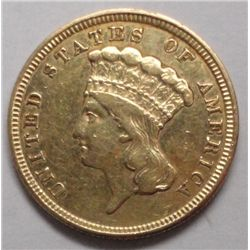 1854  $3 gold  XF prob cleaned but attractive