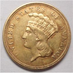1857  $3 gold   XF but an A scratched obv 6:00