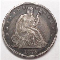 1875CC  Seated half $  VF/XF  original undipped