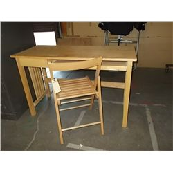"Small Desk Blonde Wood With Fold up Chair approx. 47"" x 20"" x H 29 1/2"""