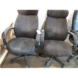 Pair of Large Black Office Chairs With Arms