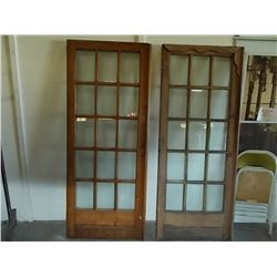 Pair French Doors with 15 Glass Panes Vintage Oak 15 Glass Panel Doors size 2/6 x  6/8