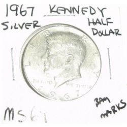 1967 KENNEDY SILVER HALF DOLLAR *EXTREMELY RARE MS-64 HIGH GRADE*!!