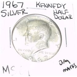 1967 KENNEDY SILVER HALF DOLLAR *EXTREMELY RARE MS-64 HIGH GRADE*