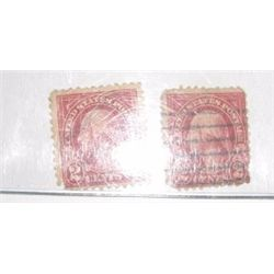 2 Total 1922 Type III Carmine 2 Cent *WASHINGTON* Stamp BLACKBOOK STAMP VALUE IS $25.00 Each*!!