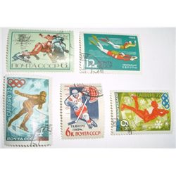 Lot of 5 Total 1968 RUSSIAN OLYMPIC Vinatage Stamps *EXTREMELY RARE - HARD TO FIND STAMPS*!!
