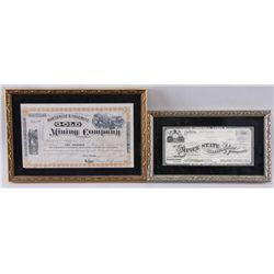 Collection of 2 Original Mining Certificates1 from the Northite & Yosemite Mining Company  and 1 fro