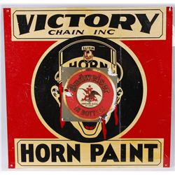 """Horn Paint"" Metal Advertising SignBy Victory Chain Inc, measures 24""x24"",  unknown vintage. It does"