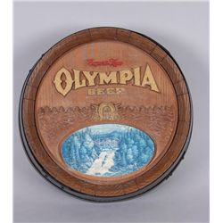 """Olympia"" Beer AdvertiserOn a plastic barrel, great decorator for a  bar."