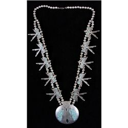 Zuni Squash Blossom Necklace with Center PendantPendant is of a teepee with inlaid turquoise,  surro