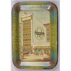 "Original Metal Advertiser - Chicago RestaurantKuntz Co., 6"" rectangle. In overall very good  conditi"