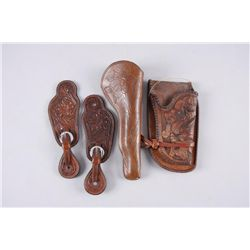 Western Bonanza LotFloral Tooled Spur Straps and a Leather Fancy  Holster by A. F, Rowland Camp Verd