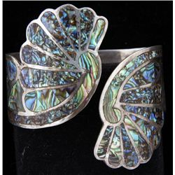 Mexican Sterling Abalone Inlaid Bracelet