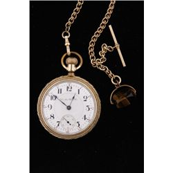 Hamilton 14K Gold Pocket Watch SN:254651Includes chain and 14K gold tiger eye fob,  manufactured by