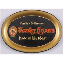 "Original Tin Advertiser - Cortex Cigars6"" oval,  ""Men of Brains"", made Key West ,  Fla. In overall v"