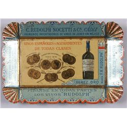 "Original Tin Advertiser Tray - Rudolph Wine Co5"" rectangle, shows medals and Spanish  information, I"