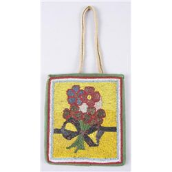 Native American Beaded PurseFloral decoration from colored trade beads,  circa 1910-20s. In overall